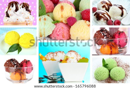 Collage of yummy ice-cream - stock photo