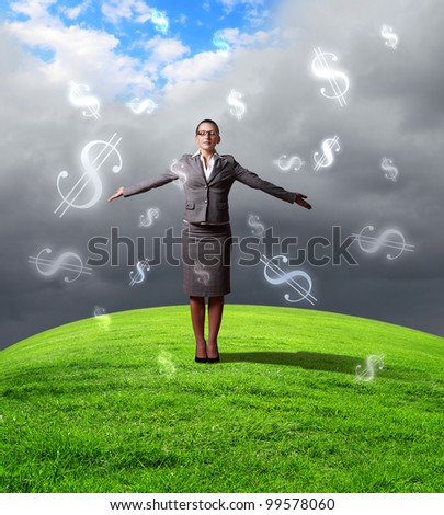 Collage on business and money theme with currency symbol - stock photo