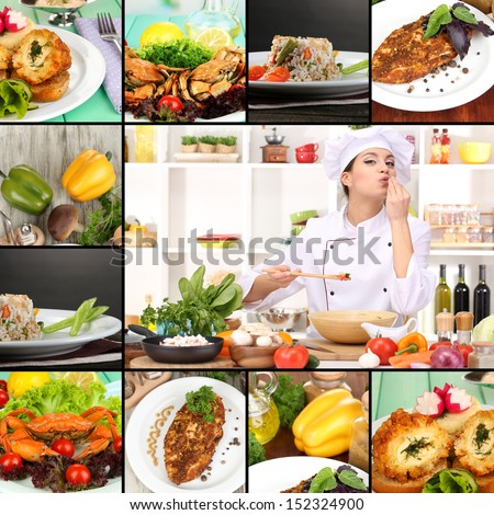 Collage on culinary theme consisting of delicious dishes and cooks - stock photo