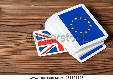 collage on event Brexit UK EU referendum concept of card game shootout, close up  - stock photo