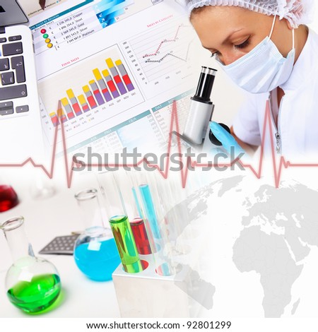 Collage on science with young woman and laborotary equipment