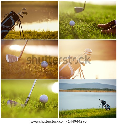 collage on the theme of golf - clubs, ball, tee, bag, grass - stock photo