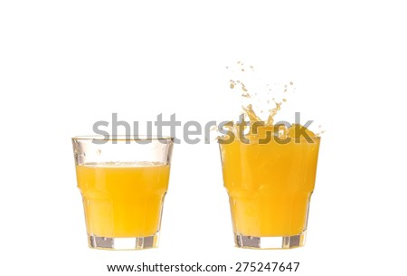 Collage Orange juice in a glass
