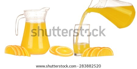 collage Orange juice in pitcher and oranges. Isolated on white background - stock photo