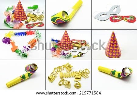Collage party time: new year cotillion partyware - stock photo