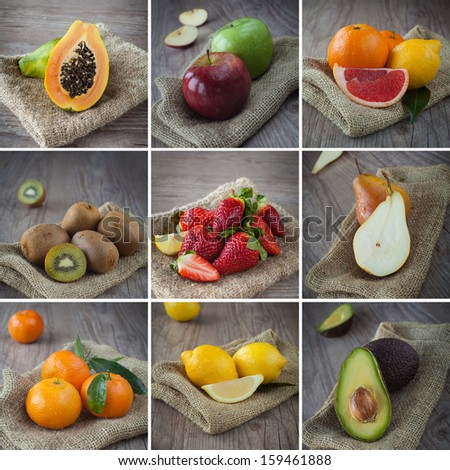 collage photo composition of healthy mixed fruits - stock photo