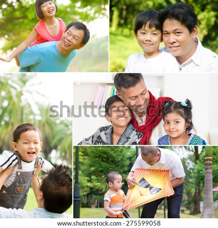 Collage photo fathers day concept. Mixed race family having fun at indoor and outdoor park. All photos belong to me. - stock photo