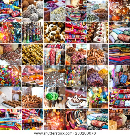 collage photo merchandise in the Arab market - stock photo