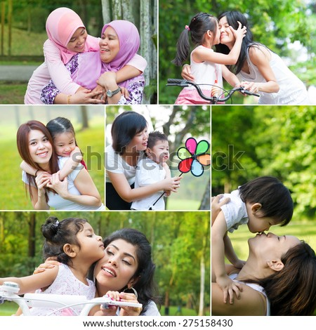 Collage photo mothers day concept. Family generations having fun at outdoor park. - stock photo