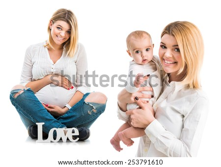 collage photo of a pregnant woman and after half a year with her baby - stock photo