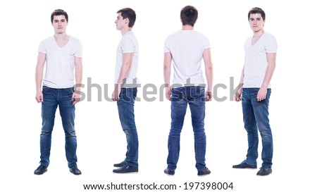 Collage photo of a young man in white t-shirt isolated, front, back, side view. - stock photo