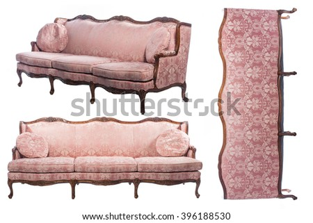 Collage Photo Of Luxury Old Fashioned Vintage Sofa From All Sides Isolated  On White Background