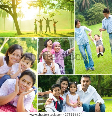 Collage photo of mixed race family having fun at outdoor park. All photos belong to me. - stock photo