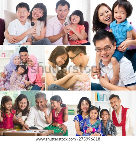 Collage photo of mixed race family having fun indoors living lifestyle. All photos belong to me. - stock photo