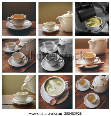 collage photo of tea