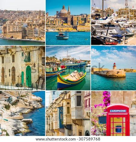collage  photos beautiful views of Malta - stock photo