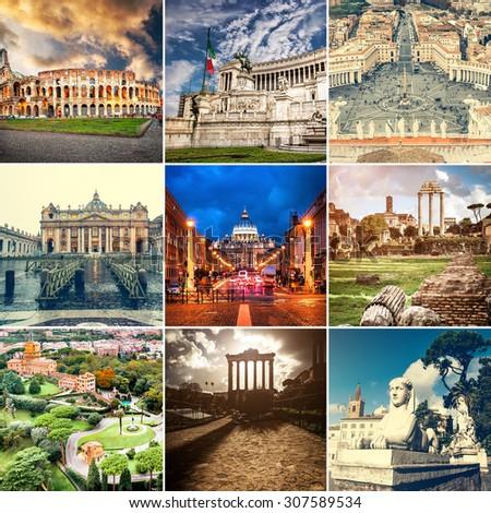collage  photos beautiful views of Rome - stock photo