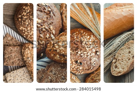 collage photos of a different types of bread on a wooden background - stock photo