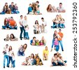 Collage  photos of a happy smiling families with their dogs isolated on white  - stock photo