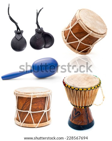 collage photos of African drums and percussion isolated on white background - stock photo