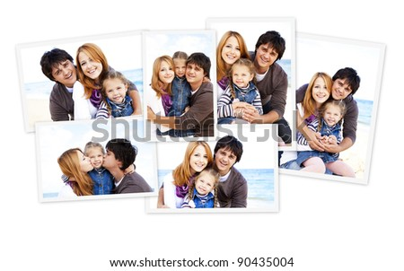 Collage photos of family at the beach. - stock photo