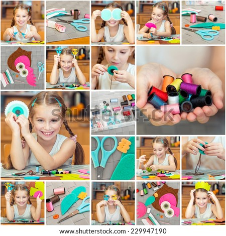 Collage  photos of little girl is engaged in needlework at home - stock photo