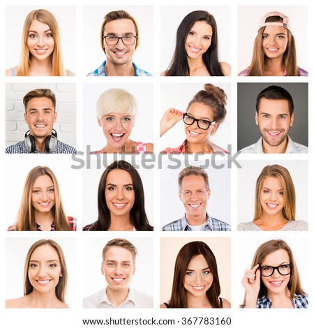 Collage picture of beautiful white human  smiles.