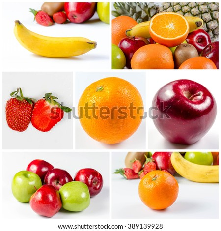 collage picture of Fresh many fruits, orange, apple, pineapple banana and  on white background - stock photo