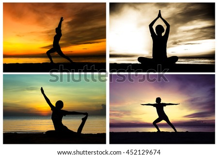 collage picture of women playing yoga