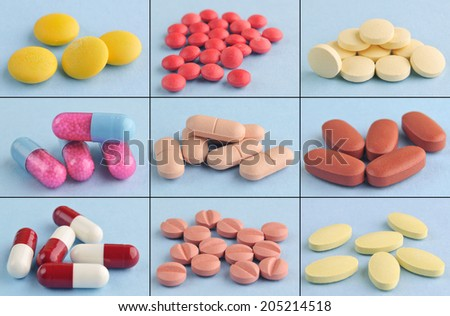 Collage pills and medical capsules with blue background - stock photo