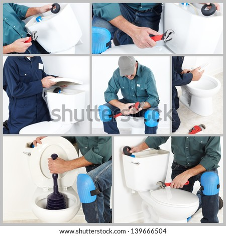 Collage. Plumber with a toilet plunger. The worker - stock photo