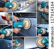 collage polishing car at automobile repair and renew service station shop by power buffer machine - stock photo