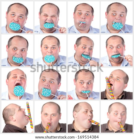 Collage portrait fat man eating a lollipop, on white background - stock photo