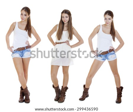 Collage, Portrait in full growth the young girls in blue jeans short, isolated on white background