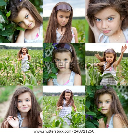 Collage portrait of a beautiful young girl on the background of a corn field in summer - stock photo