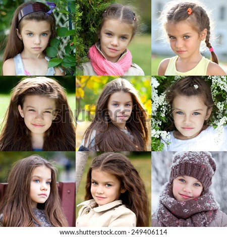 Collage portrait of a beautiful young girl, the time period from 6 years to 9 years - stock photo