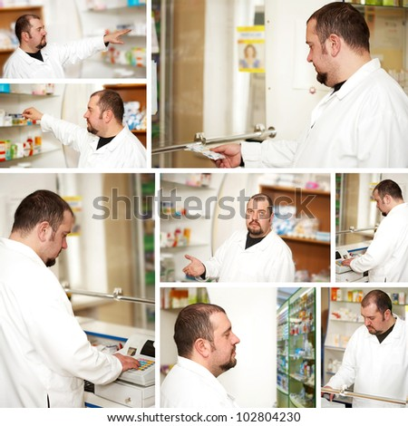 Collage. Portrait of a male pharmacist at pharmacy - stock photo