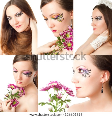 Collage.Portrait of beautiful model woman with stylish creative makeup and body art on white background. Makeup, fashion, beauty. - stock photo
