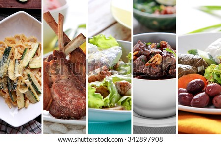 collage portrait of delicious Greek mix food - stock photo