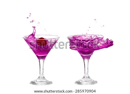 collage Purple liquid splashing in a martini glass isolated on white background