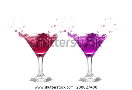 collage   Red and purple cocktail with splash isolated on white