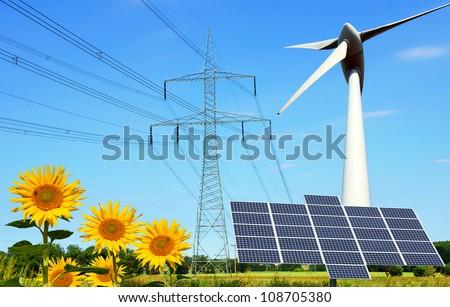 Collage renewable energies - stock photo