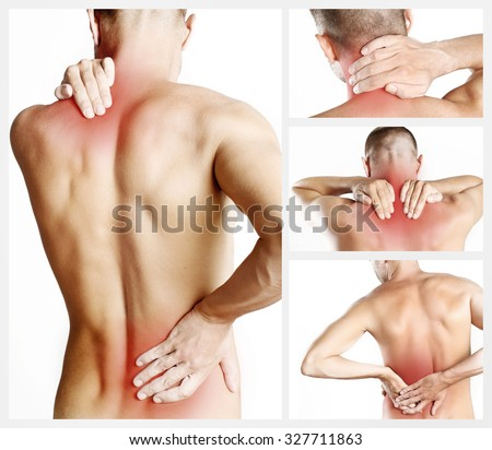 Collage representing young man with back pain