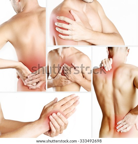 Collage representing young man with pain at different body parts - stock photo