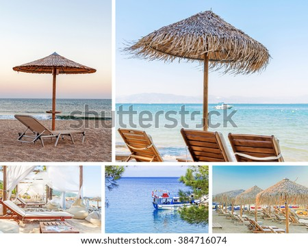 Collage sea beach picture background - stock photo