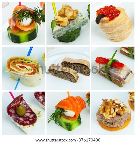 Collage (set) from various kinds of catering food. Catering services background. canape. appetizer. - stock photo