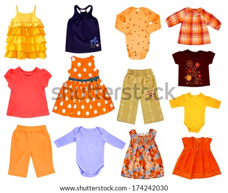 Collage set of children clothes isolated on white - stock photo