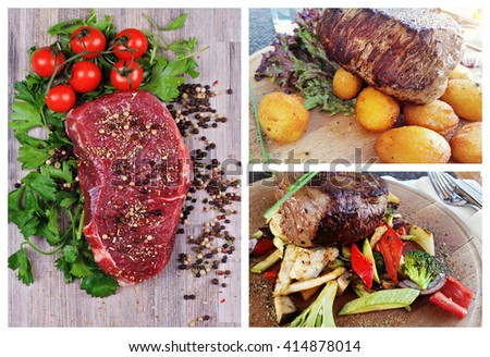 Collage set of Raw and Grilled Beef Steak Meat , baked potatoes and vegetables. Cooking background - stock photo
