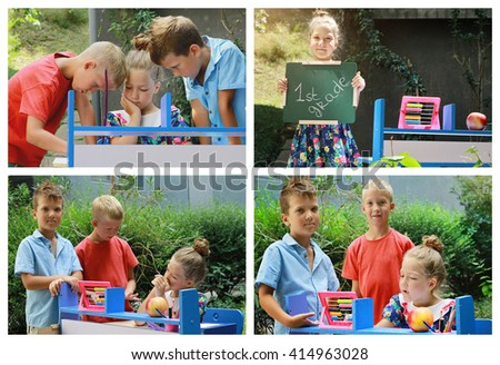 Collage set of school children.Happy smiling kids playing together. Back to school, summer camp,education concept - stock photo