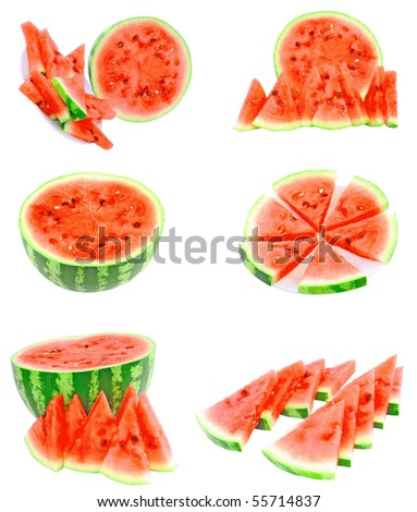 Collage(set)  of watermelon on white background. isolated - stock photo
